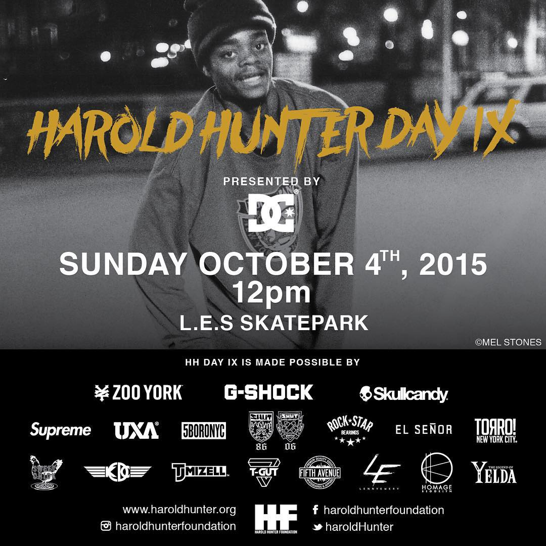 Due to rain in New York City, #HaroldHunterDay 9 will be postponed one day but will still go down as planned this Sunday October 4th. Come hang out with #WesKremer, @cyril_killa, @tfunkb and @starheadbody! Tons of giveaways, double set best trick...