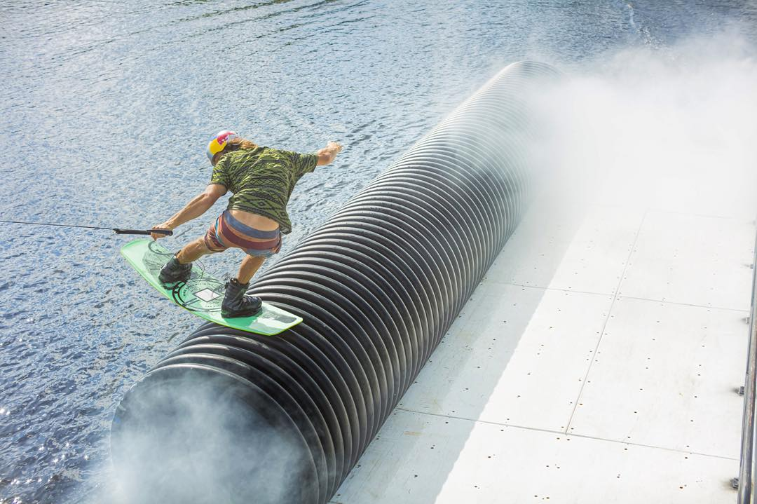 """Smoke on the water"". @domhernler #kinetikproject #ronix2016 #oneloveinwake #aquaticresearchanddevelopmentlab #fortifiedwithlakevibes"