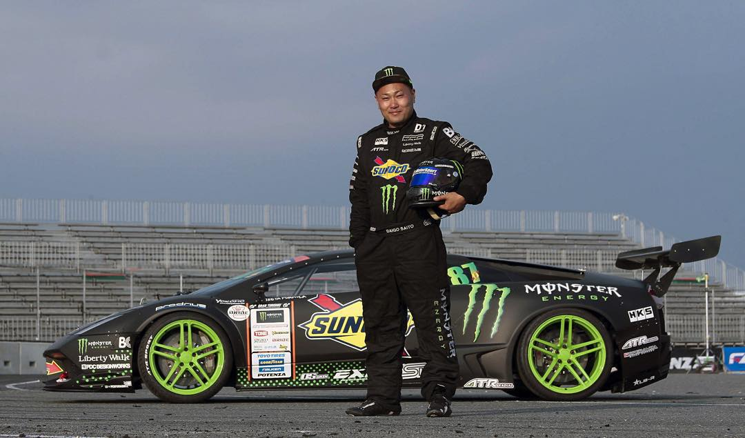 Japanese driver @daigo_saito and @libertywalkkato teamed up with @MonsterEnergy to build the world's first Lamborghini drift car!