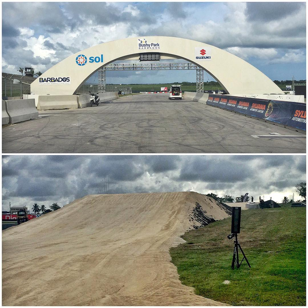 Good morning from Bushy Park Circuit, Barbados. Start/finish line and jump views from the track here. 'Bout to get my rallycross on. #BushyPark #Barbados #tropicalracetrack
