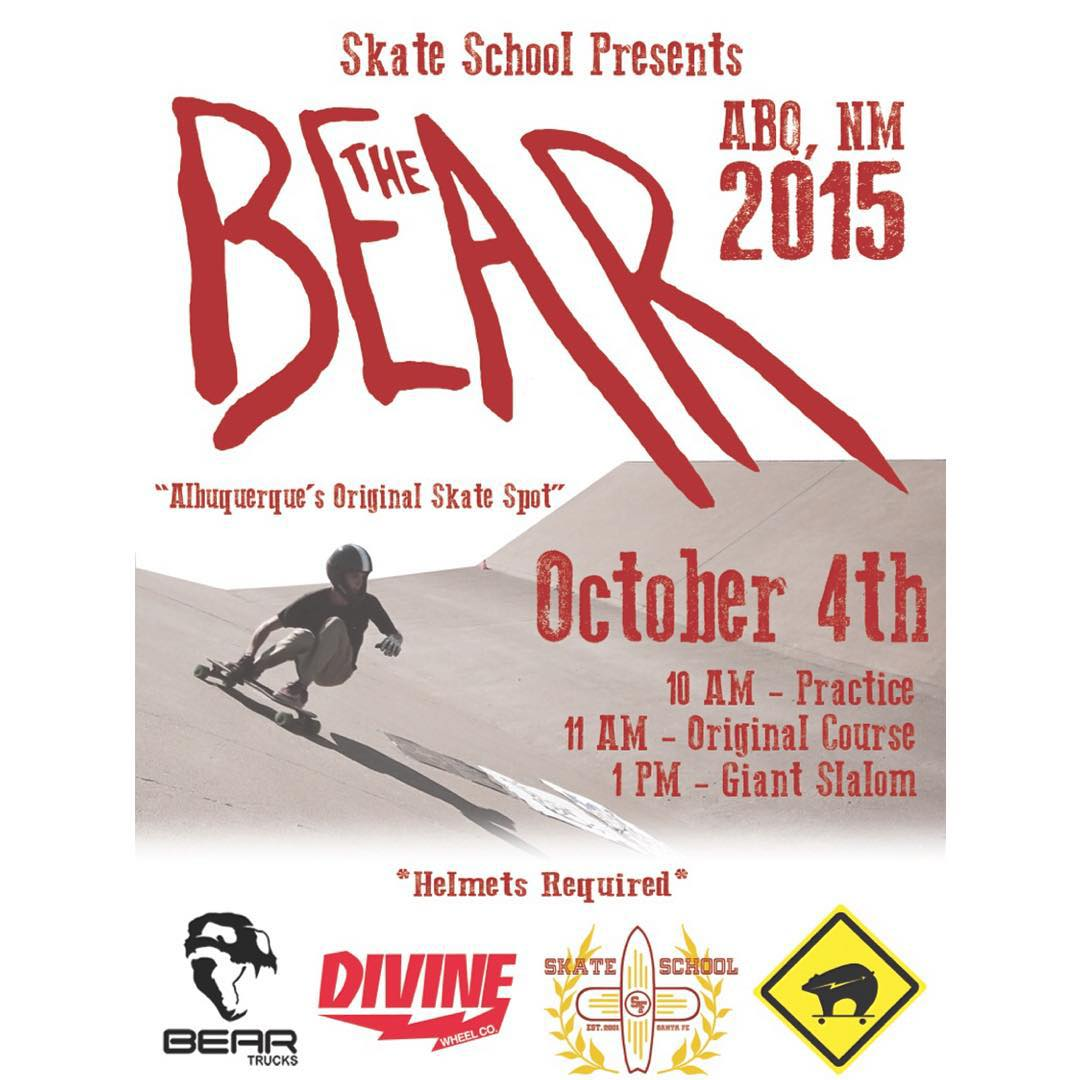 The @skateschoolsantafe #BEARSLAP is going down this weekend in Albuquerque, NM. Come drop in and go from zero to thirty in two seconds, just don't #feedthebear!  #divinewheelco #divinewheels