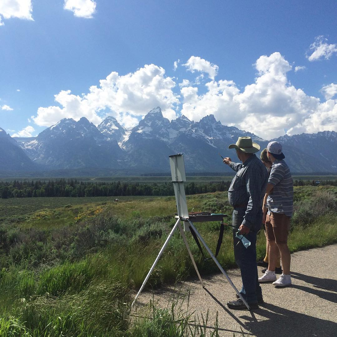 Driving to #AdventureOutpost2015 this summer, we stopped to take a look at the Tetons. Little did we know, we'd meet Jerry who taught us the importance of blending and shadowing when it comes to painting mountains. You can learn a lot from someone just...