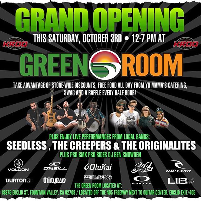 Green Room Grand Opening This Saturday from 12-7pm.  18375 Euclid St Fountain Valley.  Free Food, Bands, and give aways.  #greenroomoc #bbr #bbrsurf #bbrsurfwear #buccaneerboardriders #fountainvalley #grandppening #october3rd