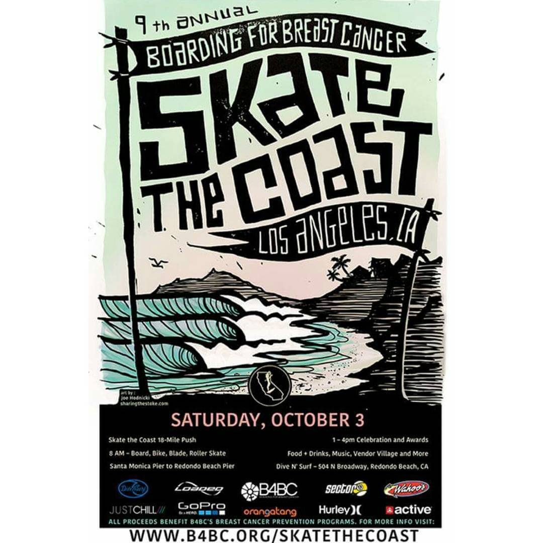 The @B4BC Skate the Coast Push is happening today!  We will be out there pushing from Santa Monica to Hermosa Beach, 18 Miles to help raise awareness for Breast Cancer through Skateboarding!  Hope to see some of you guys there!  #LoadedBoards #B4BC...