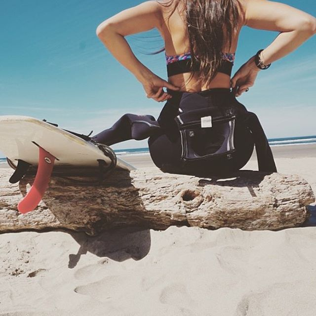 Surf's up! @jkilla08 Who's paddling out today? Our no-tie tops fit under wetsuits with comfort and ease. #surfergirl #surf #bikinilife #jointheadventure