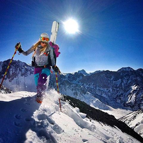 Repost from @lynseydyer : Worth the walk: Los Andes #mountains #skiergirl #ski #adventure #xshelmets #unicornpicnic
