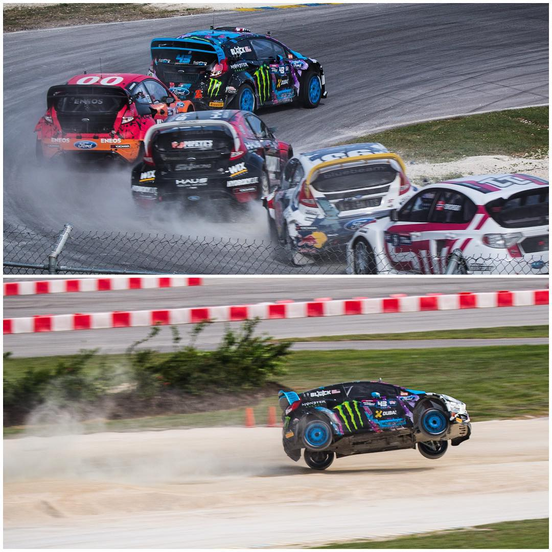 Wow. I did NOT expect a repeat of my roll last year here in Barbados!! One second I was leading the LCQ - and the next second I'm on my roof! I drove over a dirt mound right before the jump (which wasn't a very well designed part of the track - and was...