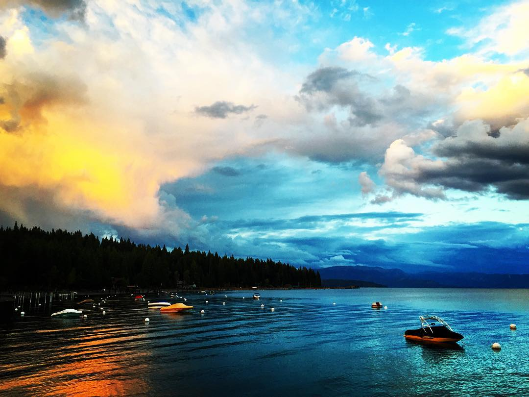 Stormy Lake Tahoe Sunset #tahoe #sunset #sunsetchaser #laketahoe