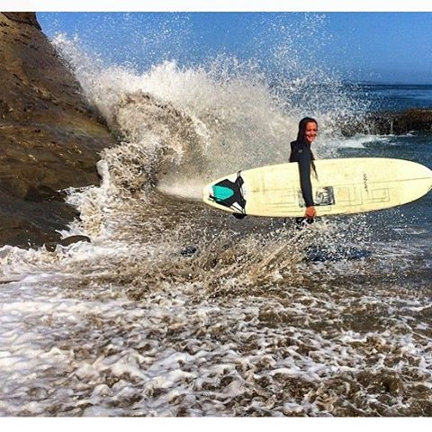 Great shot from @outdoorwomen of @salty_altitude about to get her surf on. ☀️