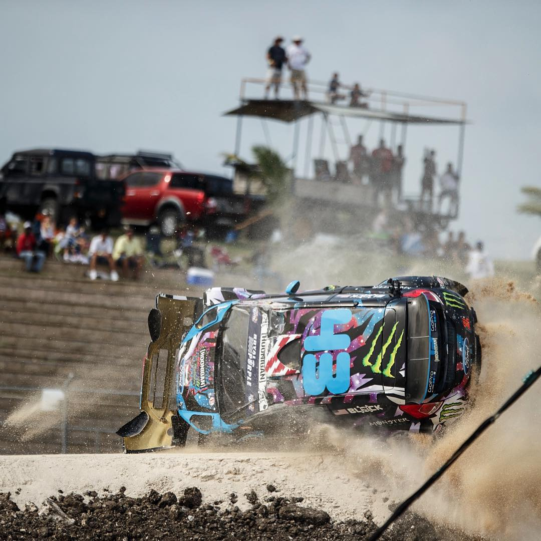 @kblock43 going full hot rod yesterday at #GlobalRallyCross Barbados. Luckily the guys on @hooniganracing team know a thing or two about swinging wrenches in a pinch. Took third in the semifinals today. Let's see what the rest of the day brings!
