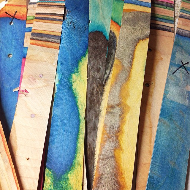 Really excited about the new projects that we have in the works! Even the cut offs are beautiful! Stay tuned... #irisskateboards #recycledskateboards