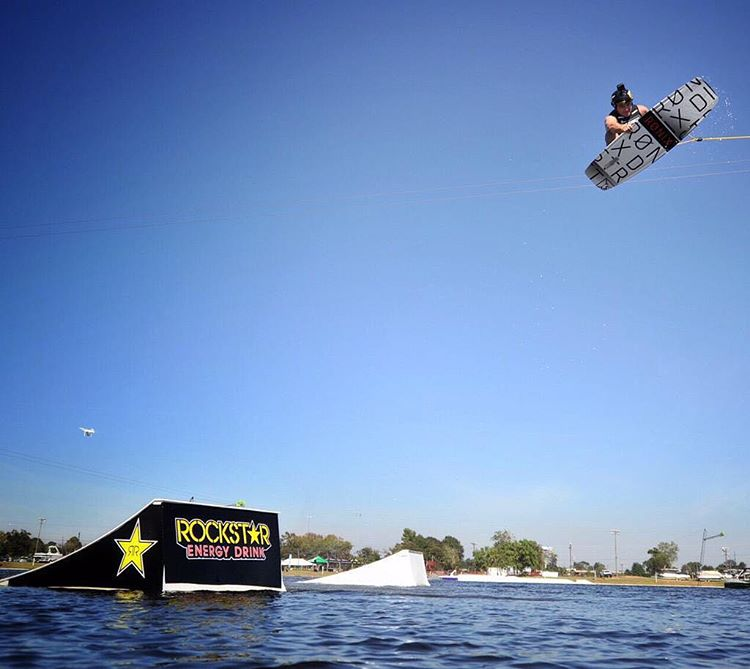 @chadsharpe doing what he does best! @rockstarenergy Big Air. @hangar9wakepark @system2parks