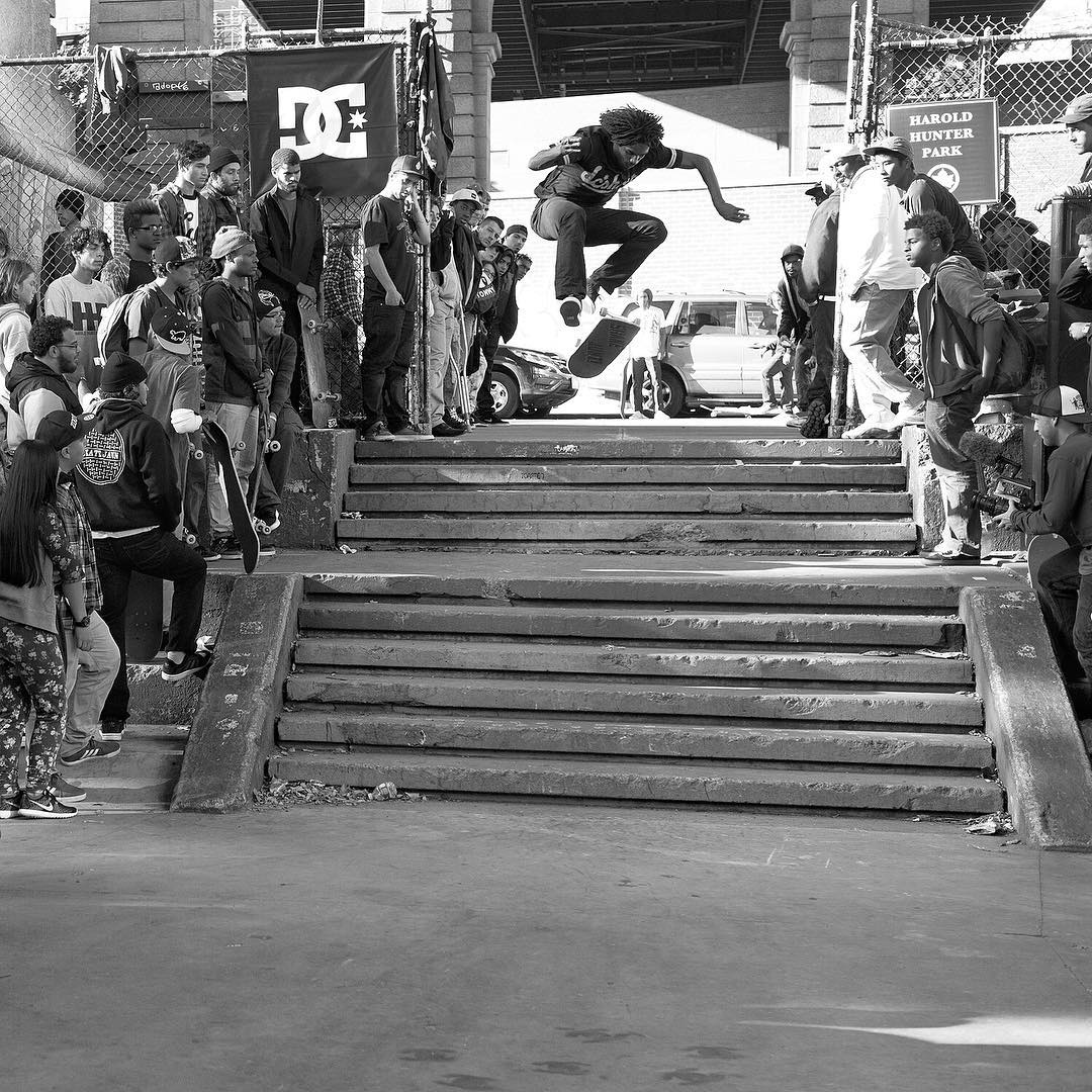 Had an awesome day at #HaroldHunterDay 9 in New York City! @cyril_killa blessed the double set with a textbook 360 flip! Thanks to @haroldhunterfoundation and everyone that came out! Photo: @blabacphoto #CyrilJackson #DCShoes
