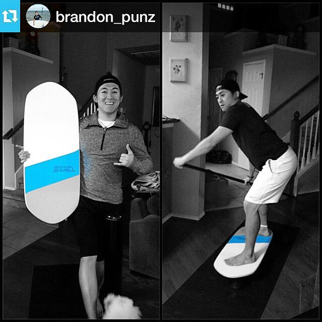 Brandon  having a swell session inside. #revbalance #findyourbalance #sup #paddleboarding #balance #train