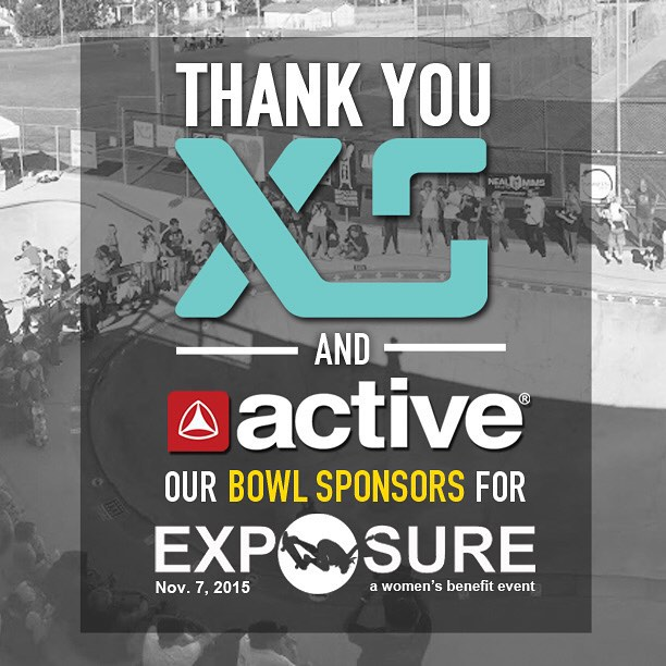 Thank you to @xshelmets and @activerideshop for being our bowl sponsors for Exposure 2015!! There are plenty of partnership opportunities still available, email partnerships@exposureskate.org to find out how you can help empower girls through...