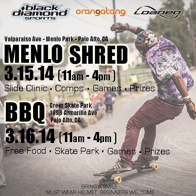 Howdy, folks! Due to some heavy rain in the forecast for this weekend, we have rescheduled the Menlo Shred for March 15-16th. Hope to see everyone out there; hit us up on Facebook with any questions!  bit.ly/MenloShred  #loadedboards #orangatang...