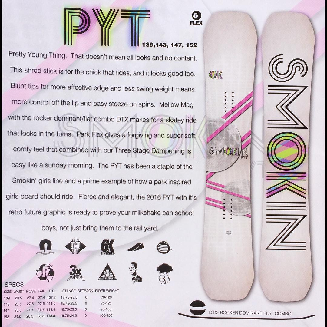 Gonna be a big year for our #PYT , it just won #GoodWood2016 for top 10 best park boards for the ladies. Mello magne- traction, rocker dominant flat camber #DTX makes for a skatier ride that locks in turns. The PTY has been a staple of the girls line...