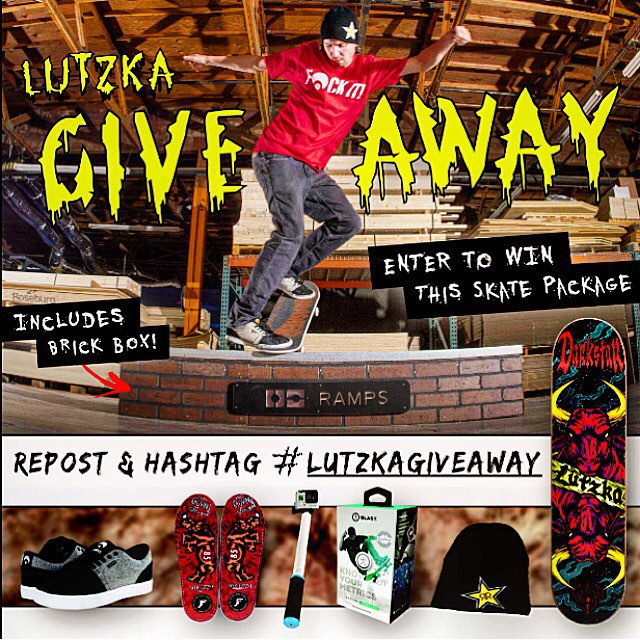 Follow @greglutzka for more information on how to enter and win this skate bundle, including a GoPole Reach! #gopole #lutzkagiveaway #skateboarding @Darkstarskate @OC_Ramps @OsirisShoes @FPinsoles @Blast_Motion @Rockstarenergy