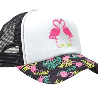 more flamingos please. #luvsurf #wearthecalidream #flamingo #truckerhat  Make it yours:  www.luvsurfapparel.com