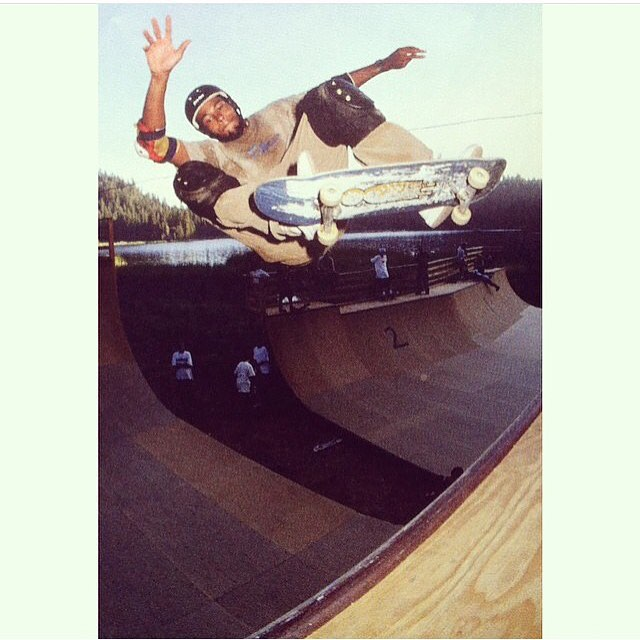 Style is everything >>> #ElementLegend @r.barbee snaps  one at the old vert ramp at @elementskatecamp