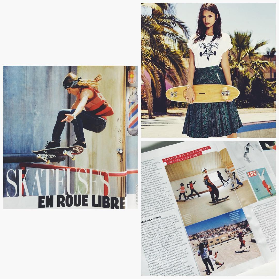 Besides putting @emrata in the cover holding a board, @grazia_fr did a good article on female skateboarding. Thanks a lot for featuring us and a photo from OPEN!  #longboardgirlscrew #womensupportingwomen #wesomainstream #lgc #femaleskateboarding #lgcopen