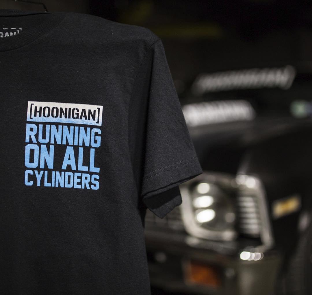 "Front shot of the all-new #HNGN ""Running on all cylinders"" tee. Check it, on #hooniganDOTcom."