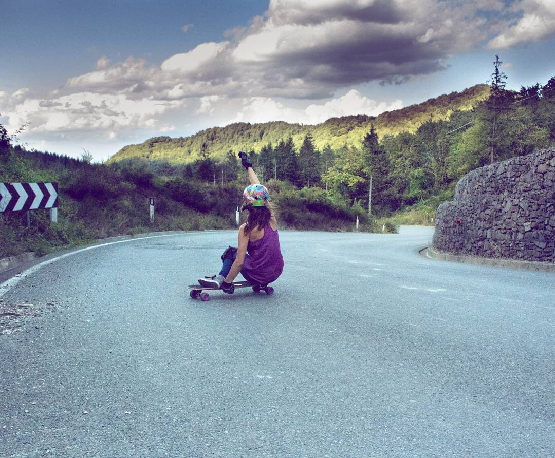 Travelling through Italy, @mckaywilsonskate feels out the pavement on her #Orangatang #Purple #Thekilmer  Micaela is on a study abroad adventure, where she combines her degrees in Gelological Pavement Applications and Marine Biology to find out how to...