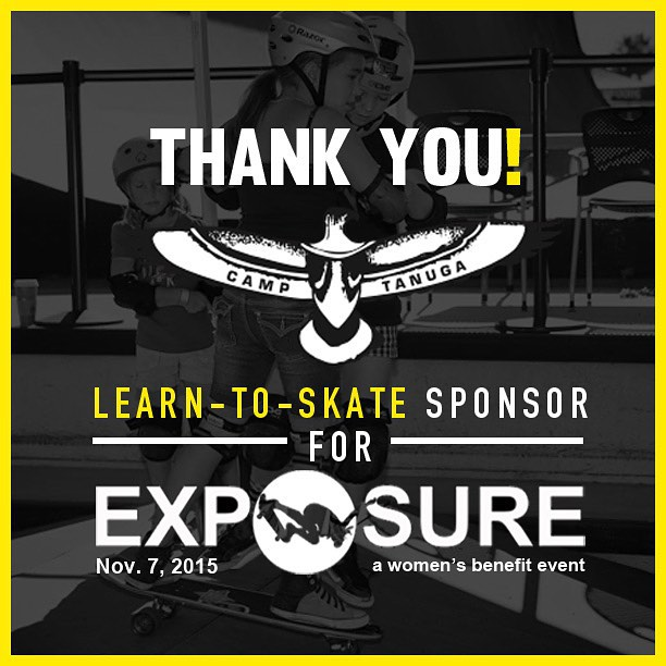 Thank you to @camptanuga for being our learn to skate sponsor for Exposure 2015!! There are plenty of partnership opportunities still available, email partnerships@exposureskate.org to find out how you can help empower girls through skateboarding!