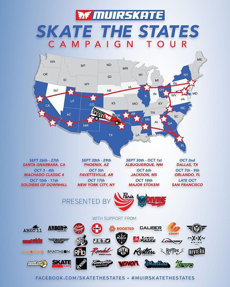 US fans, don't miss this awesome your that MuirSkate is currently doing. Check out the dates and be there! Great prizes will be given at each stop. #muirskatethestates #muirskate