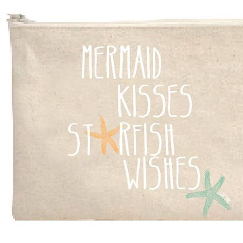 mermaid kisses // starfish wishes. Cosmetic bag's are online now! #Luvsurf #wearthecalidream www.luvsurfapparel.com