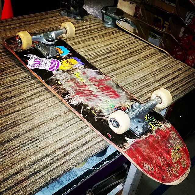Skate and destroy!  James Tracey--@deadbear13 thrashed the Facemelt street deck!  #jamestracey #facemeltstreetdeck #bonzing