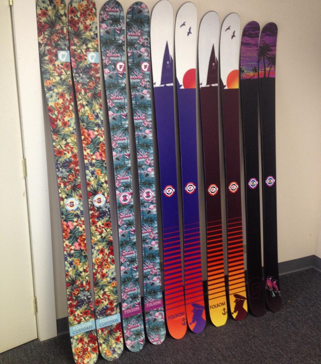 Our @backcountrycom line up available now! Left to right Trophy, Trigger II, Primary, Primary Tour, and Completo. Make your Friday even better by getting some fresh skis for the season! #gettropical #goatworthy #madeintheusa