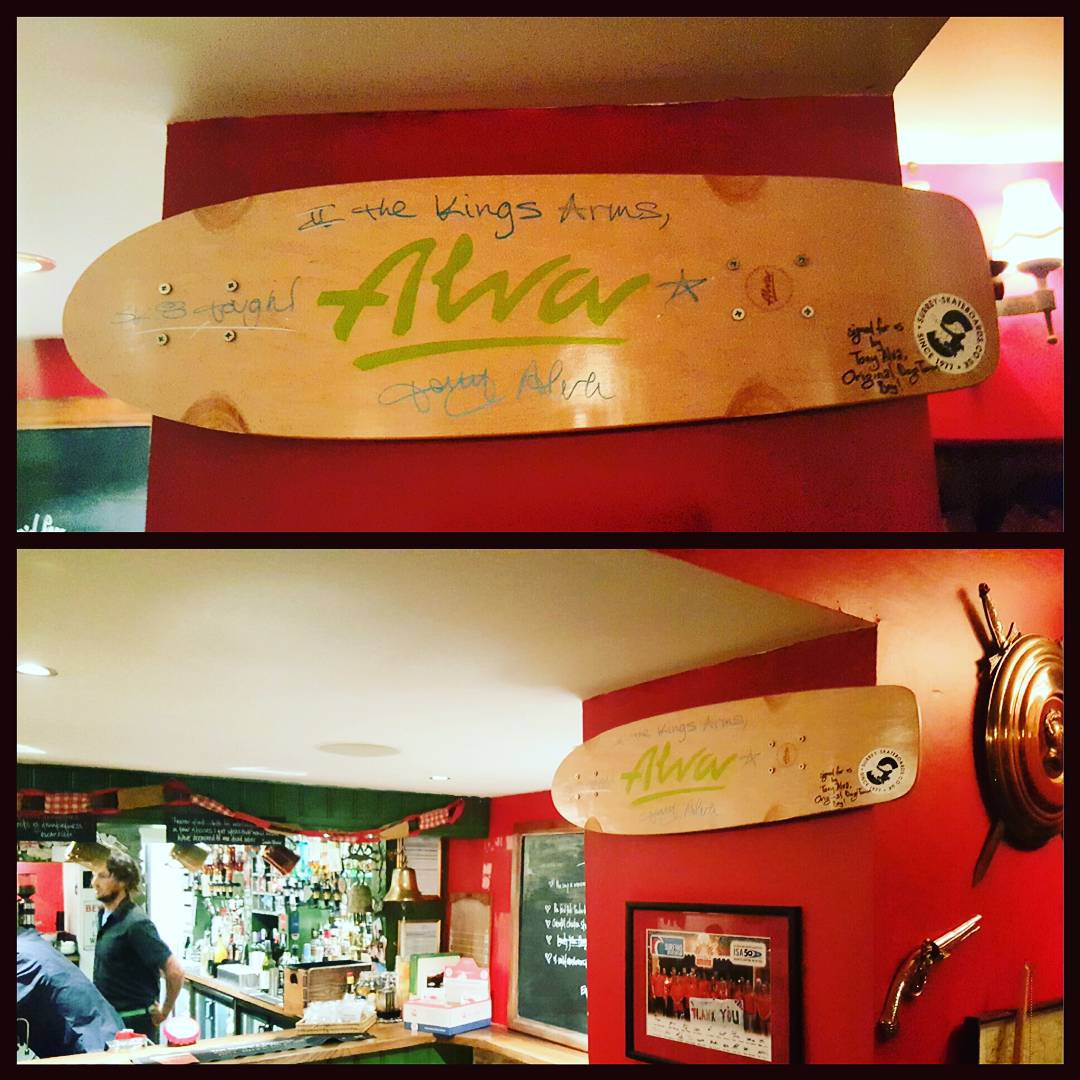 How do you know when you're in the surfing capital of England? How about when the local traditional English pub has 99% traditional decor, except for a signed @thetonyalva1957 skateboard, a steady diet of roots reggae music, and a traditional menu made...