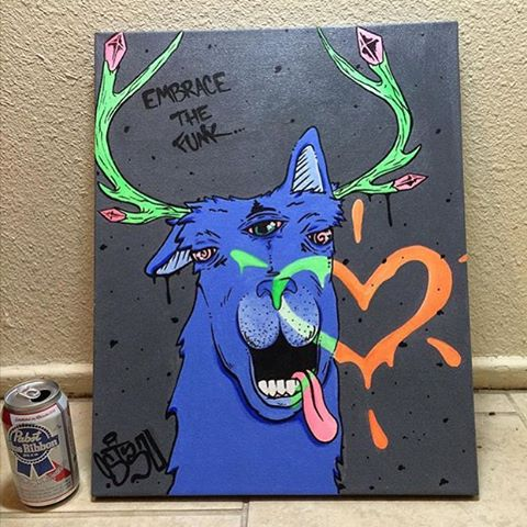 "@sepulstone • • ""Embrace the funk"" canvas • • #atx #austintx #texas #tx #art"