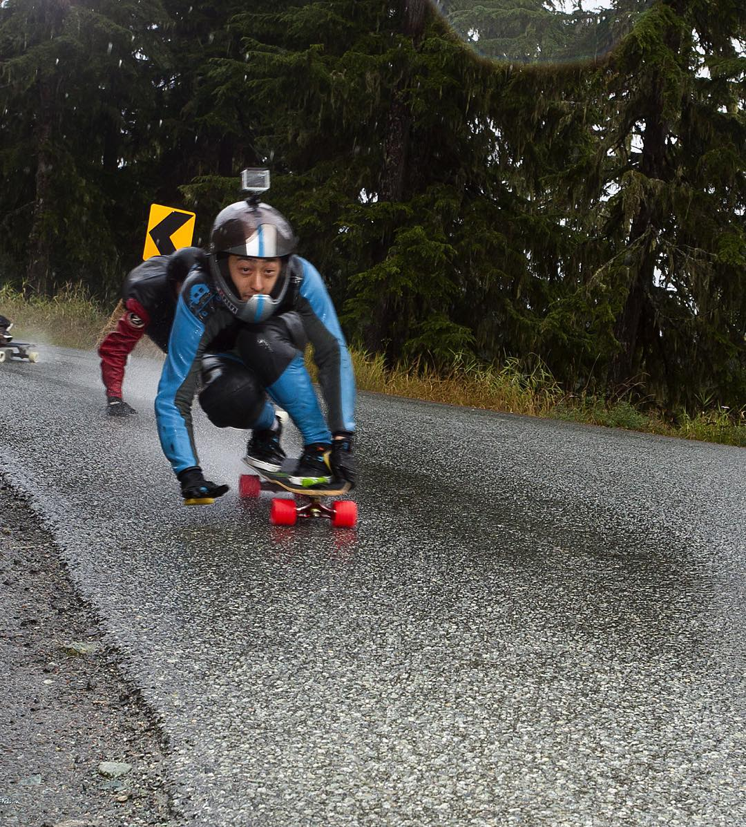 Wet socks? Try wet leathers.  The rain is bringing the @whistlerlbfest vibes back to #vancouver this long weekend but @be_choi didn't let it stop him from leading the pack