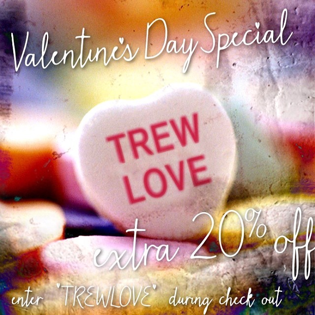 We TREWly love you. For one day only get an additional 20% off by entering TREWLOVE during checkout. This is in addition to our 25% sale for a whopping 45% off for one day only!  #doesntgetanybetter #thetrewthshallsetyoufree