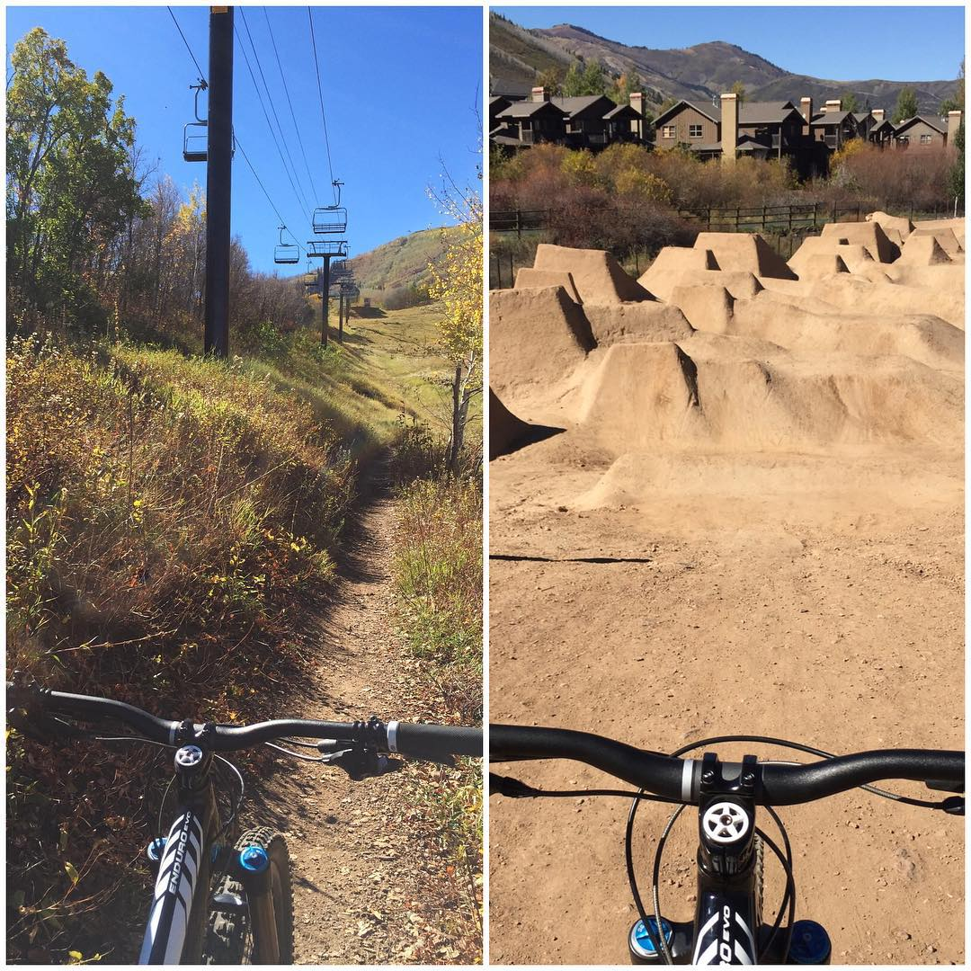 Two totally different views from two totally different terrain situations yesterday. Nice to get some pedaling/trail time in, followed by a jump session with my young son. Although, those little jumps are sketchy to me on my intermediate bike! Fun...