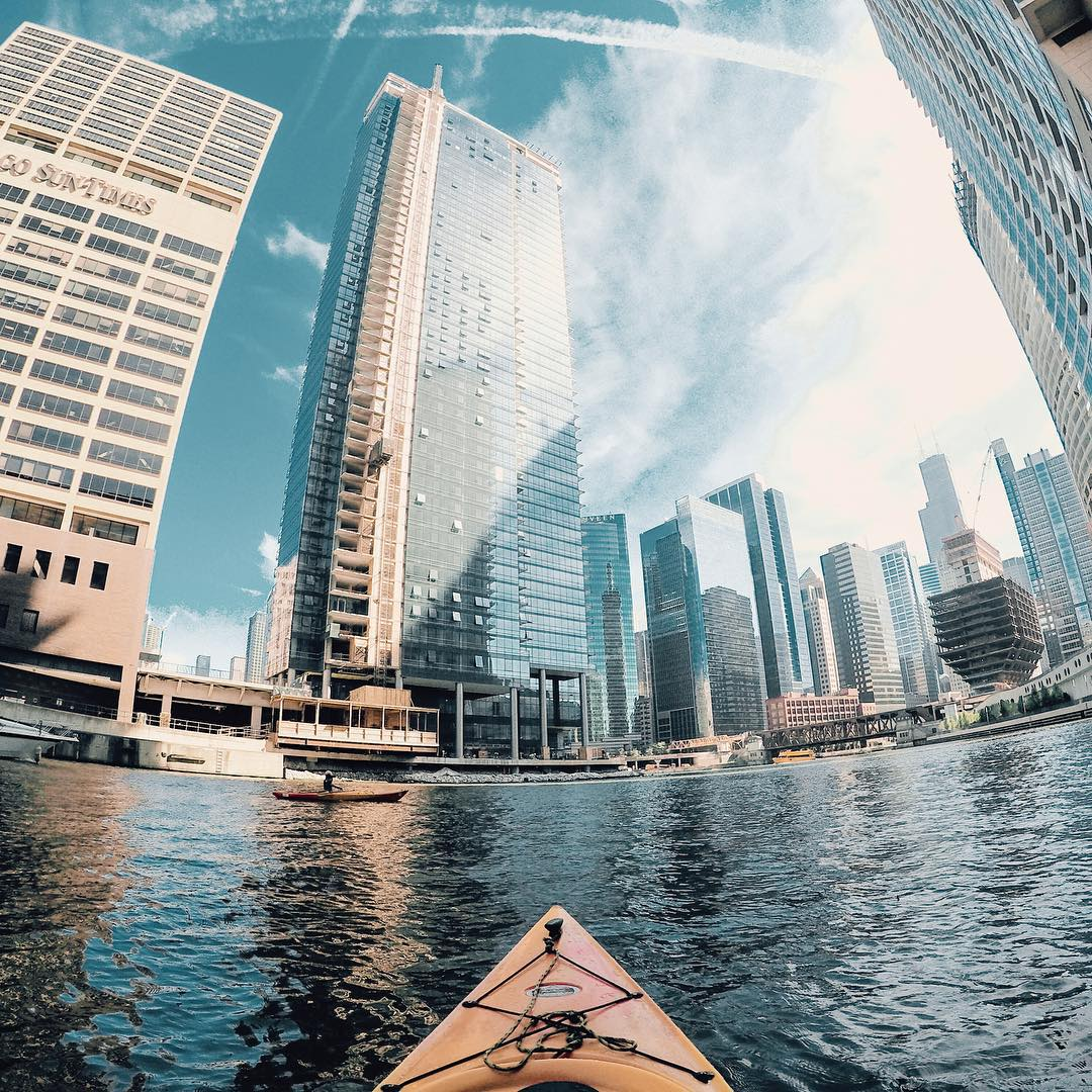 Photo of the Day! @alexnightingale had been stuck in the city and needed an outdoor fix. So he and his wife dropped in on the Chicago River, admiring the great architecture of Chicago from a different persepective. Have you taken an urban adventure?...