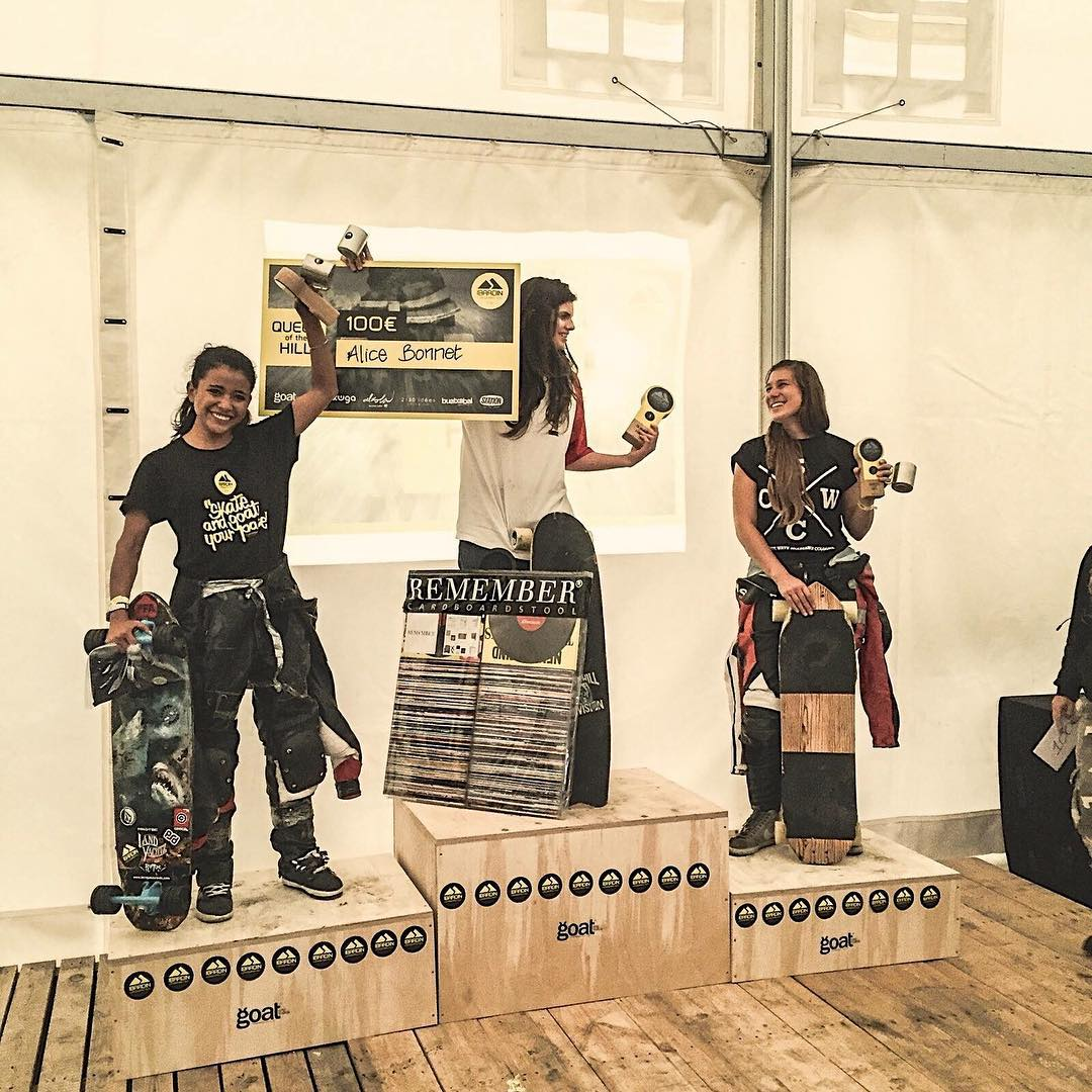 Spain's #Ibardin2015 Queen of the Hill Podium! 1. Alice Bonnet 2. Diana Castillo 3. @janinelafranca  Yeah ladies!  @goatlongboards photo & event.  #longboardgirlscrew #womensupportingwomen #skatelikeagirl #ibardin