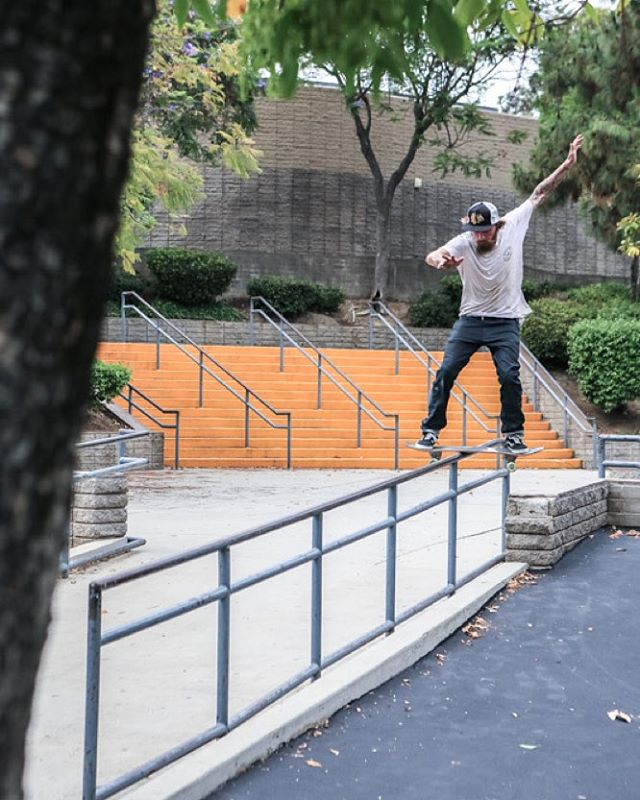 Power. Balance. Finesse. @gnarlivin tightrope boardslide among the ghosts of Summer.