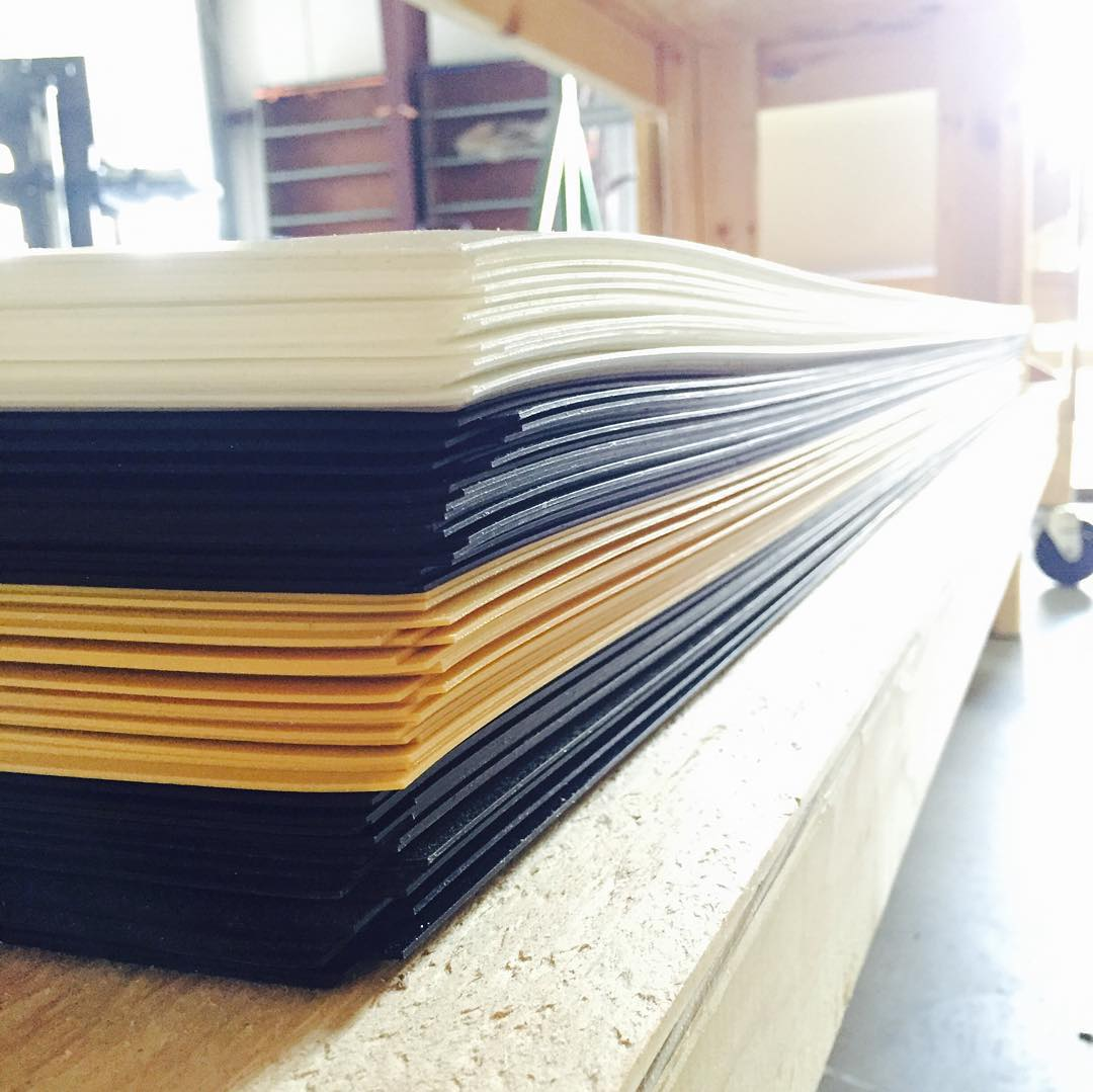 Die cut bases ready to get pressed for the 2016 O'Shea Park and Langfield Pro #wakeboarding #madewithcareriddenwithout
