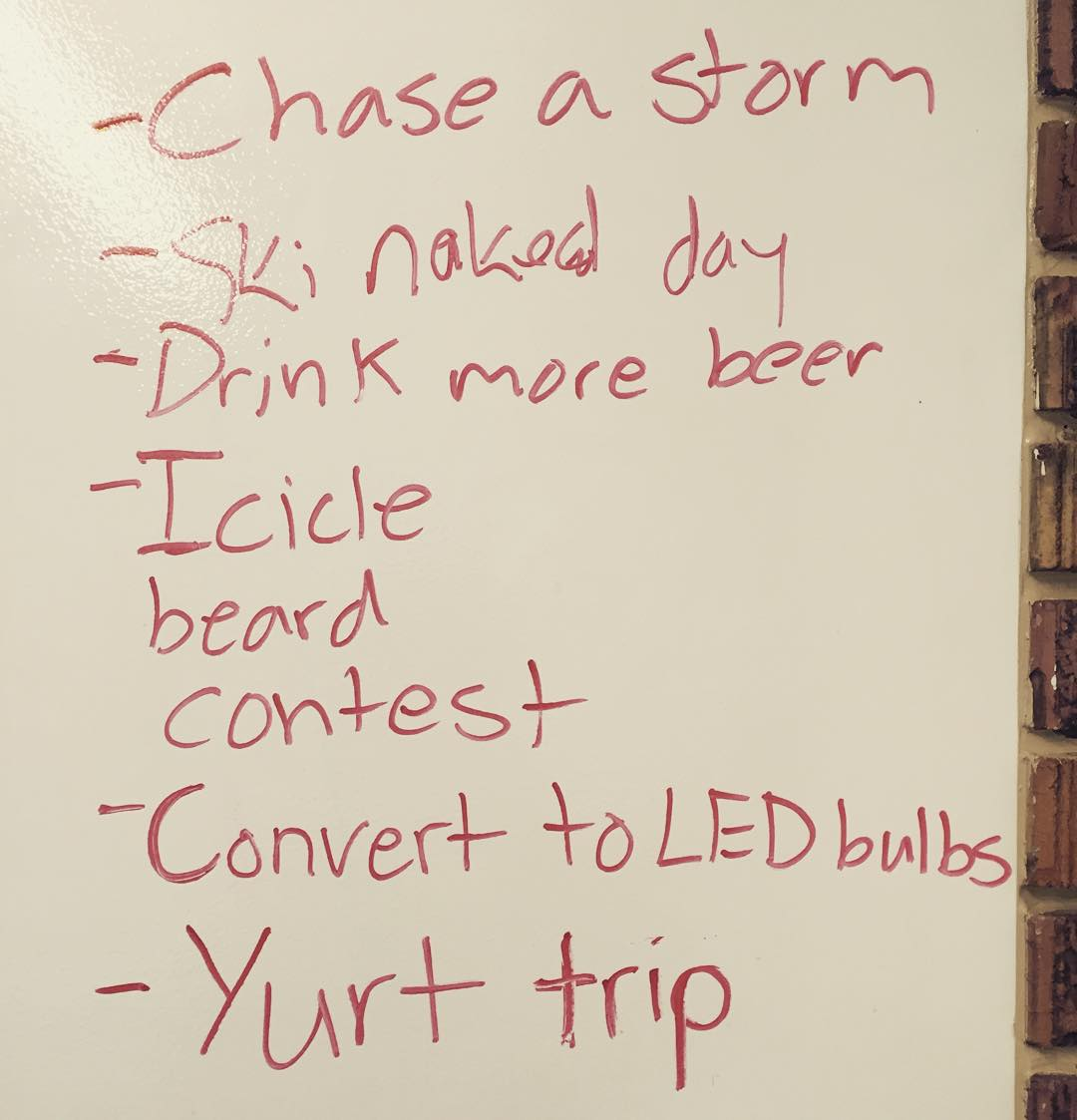 "as our strategic planning session came to an end on friday afternoon, we decided we needed a few ""fun"" winter goals. what do you have planned for this season?"