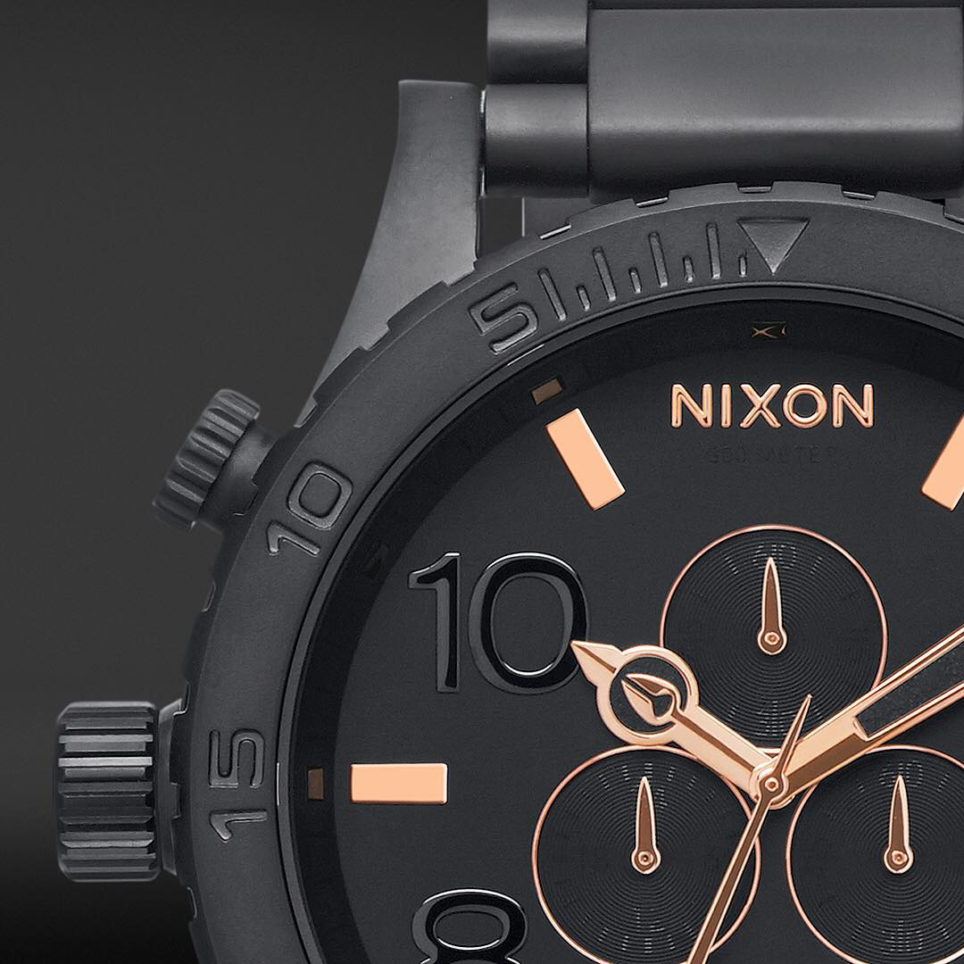 Explosive. Hits of rose gold situate among rich, black-plated stainless steel, giving the #Nixon 51-30 #Chrono an end result that's as restrained as it is tough. #NixonNow