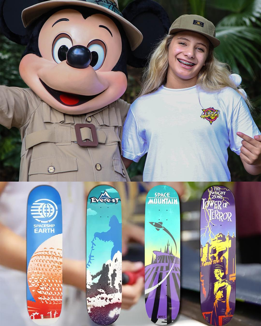 #XGames silver medalist @AlanaSmithSkate's day at @WaltDisneyWorld inspired four new skate deck designs!  Check 'em out by clicking the link on @wdwbestdayever's profile page.