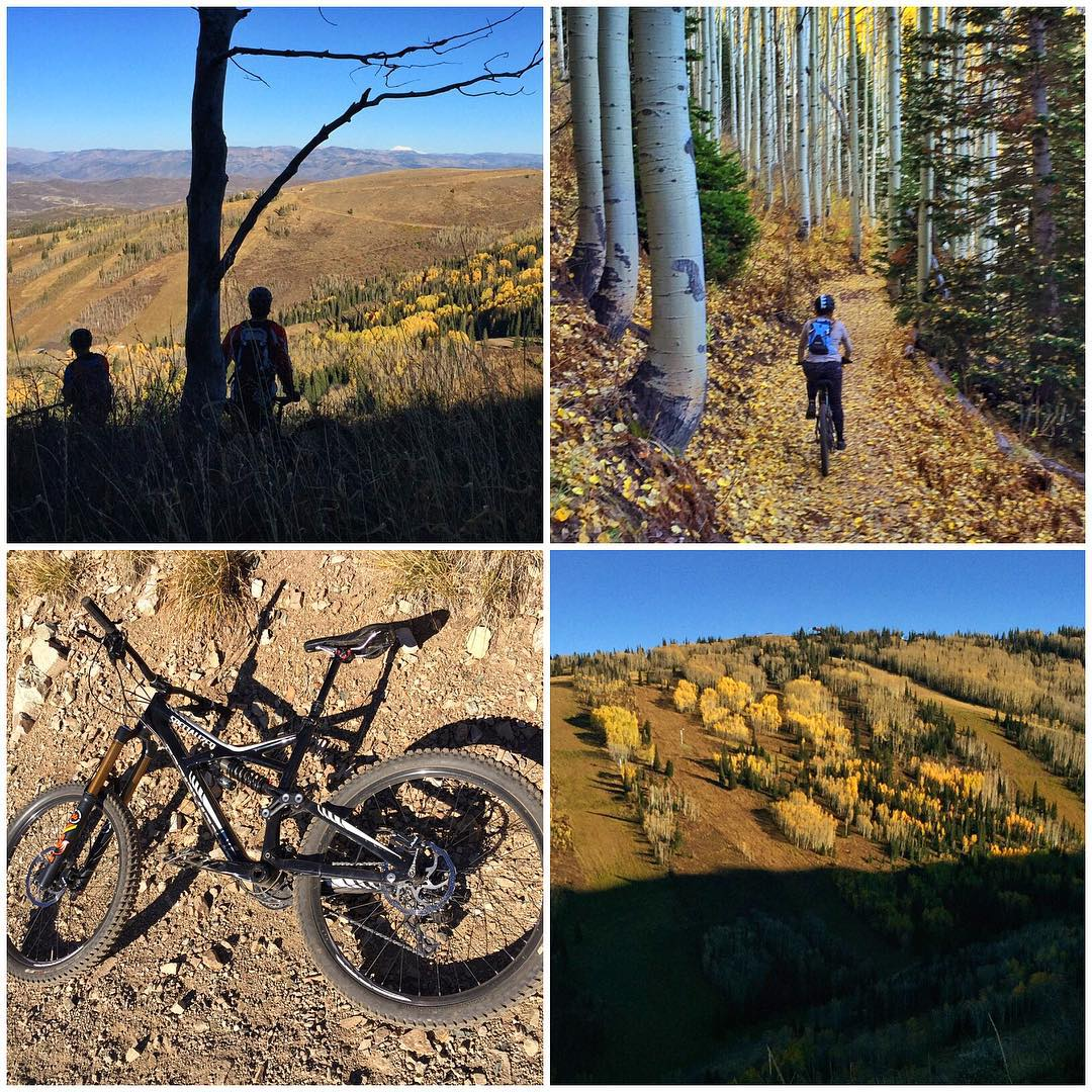 A few views from our mountain bike ride from up at Guardsman Pass, down to our home in #ParkCity. 14 miles. Lots of trails. Plenty of fall leaves. And, a ride by the new and unfinished gondola on the Park City Mountain Resort. #fallsohard...