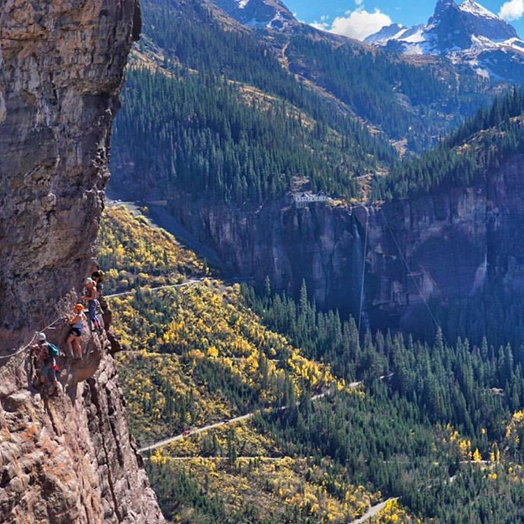 "Wow @jcuret. Her trek across the Via Ferrata. It translates to ""Road of Iron,"" which she says is accurate considering you cross pegs of iron to traverse this route high above Telluride. That looks like a bucket list. Follow this Colorado-based photog,..."
