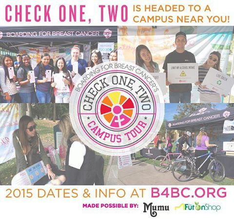Get ready...B4BC's Check One, Two Campus Tour starts tomorrow! Our traveling education booth will be cruising up and down the California coast educating students on how to reduce their breast cancer risk. The first stop of the tour is tomorrow at...
