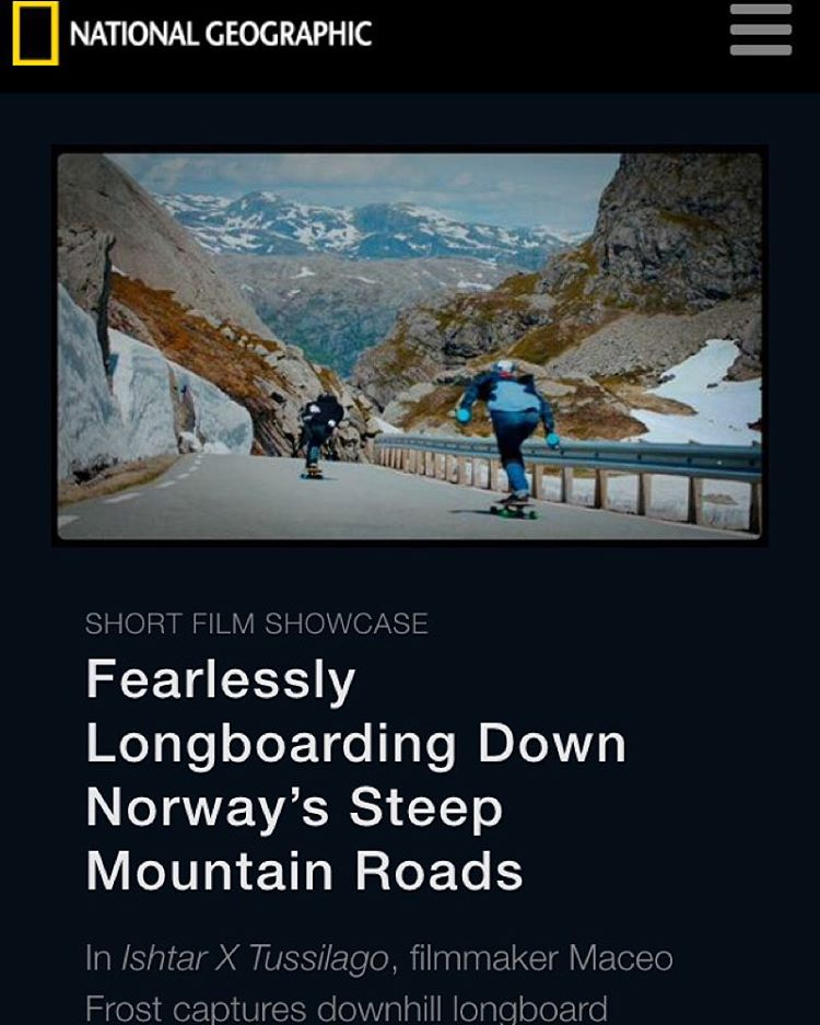 AHHHH! @ishtiish x @tussilagoband  video shot by the talented @maceofrost featured in @natgeo! Whaaaat?! Amazing, just amazing.  #ishtarxtussilago #longboardgirlscrew #womensupportingwomen #skatelikeagirl #nationalgeographic #ishtarbacklund #norway...