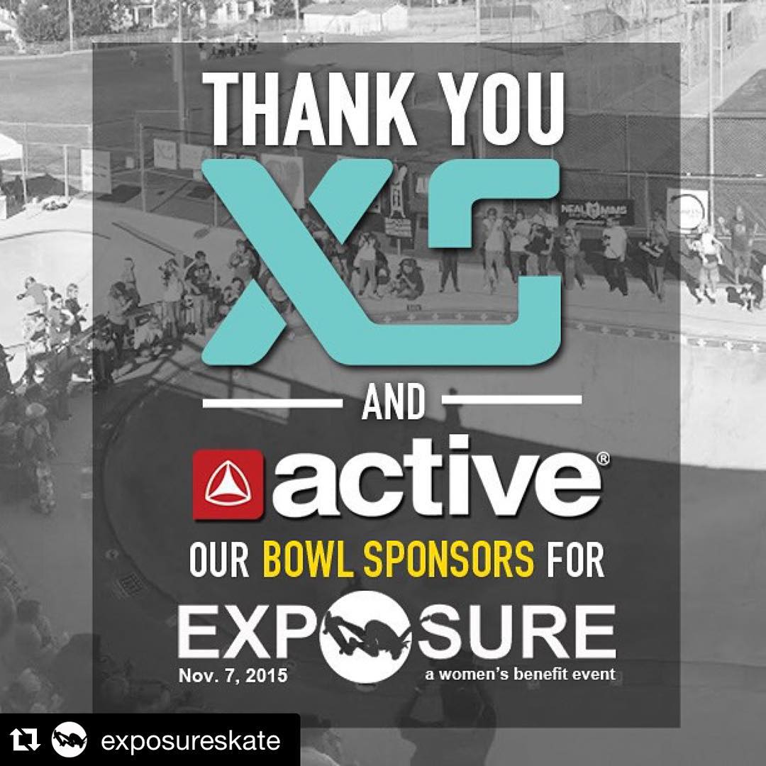 XS is proud to sponsor the bowl comp this year @exposureskate together with @activerideshop !!! On Novemver 7th come out to see the best girls compete in the largest women's skateboarding competition and benefit! See you there ☀️✈️