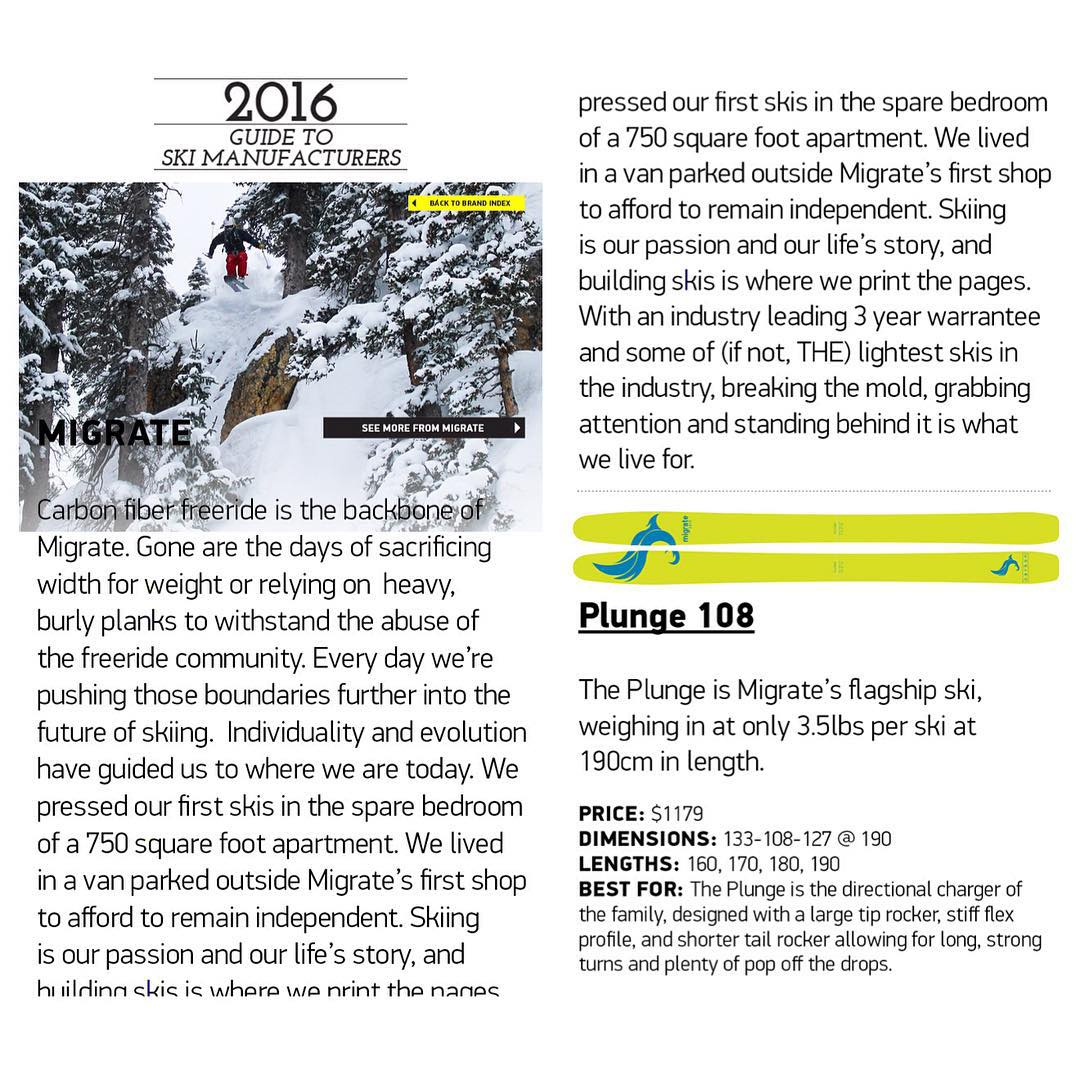 Migrate's Plunge 108 has been featured in Independent Skier Magazine!  Download the latest edition and get a closer look at our flagship model!! #indie #skiing #skis #winter #powder #backcountry #touring #climbing #adventure #mountains #explore...